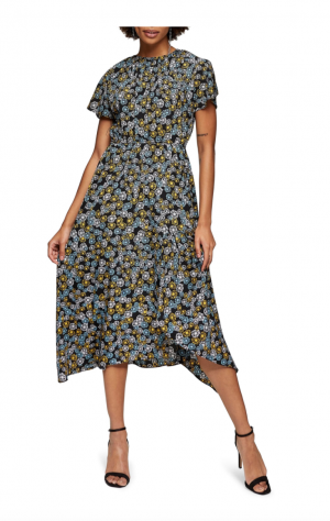 TopShop Floral Print Ruched Neck Midi Dress