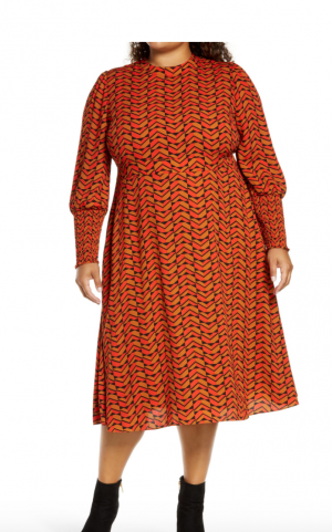 Halogen Tie Back Long Sleeve Dress Plus Size (2 colors/prints)